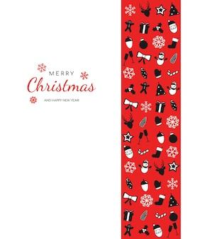 暗い背景のクリスマスカード雪片と明るい花輪で飾られたクリスマスツリー