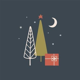 Рождественская открытка или плакат в скандинавском стиле