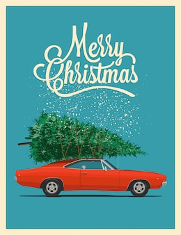 Christmas card or poster  with retro red car with christmas tree on the roof.