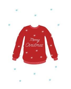 クリスマスカードの赤いニットセーター