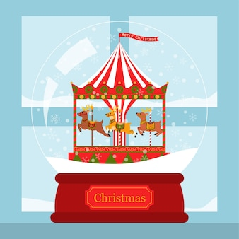 Рождественская открытка оленей корусель в снежном шаре у окна