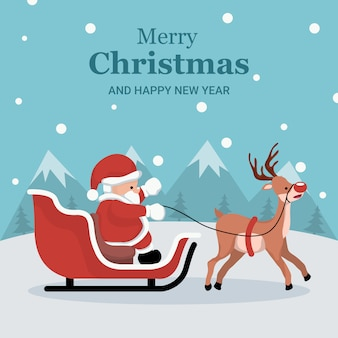 Christmas card of santa claus in his sleigh