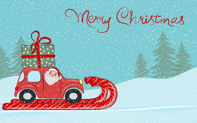 Christmas card santa claus is driving a red car with a gift on the roof merry christmas