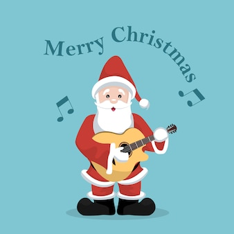 Christmas card of santa claus playing acoustic guitar