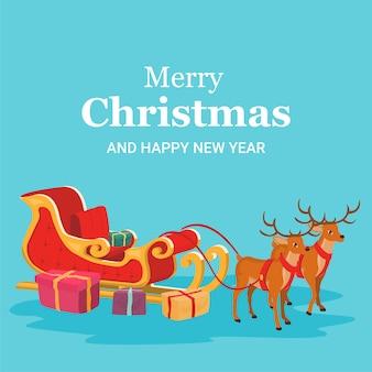 Christmas card of santa claus sleigh and reindeer