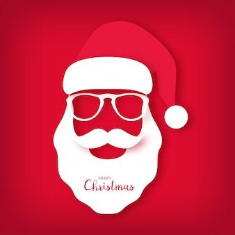 Christmas card santa claus wearing glasses