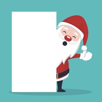 Christmas card of santa claus behind white poster