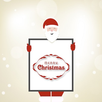 Christmas card. santa is holding a frame with holiday greetings