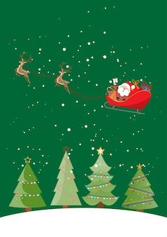 Christmas card, santa and reindeer on a cart, christmas background concept.