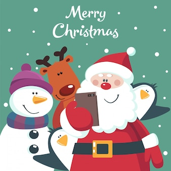 Christmas card of santa, snowman, deer and penguins taking photo.