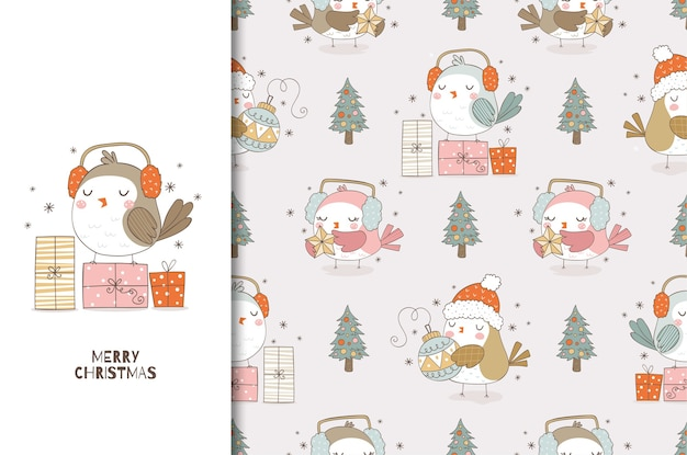 Christmas card and seamless pattern set cute cartoon bird with headphones and gifts hand drawn surface design