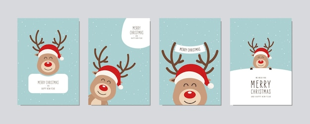 Christmas card set. merry christmas and happy new year greeting cute red nose cartoon reindeer with santa hat