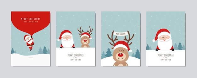 Christmas card set. merry christmas and happy new year greeting cute santa and red nose reindeer cartoon .