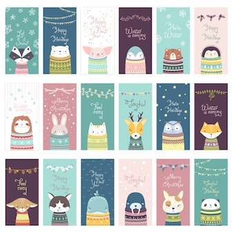 Christmas card set with cute animals in cozy sweaters, in pastel colors. minimalistic flat illustration in scandinavian style