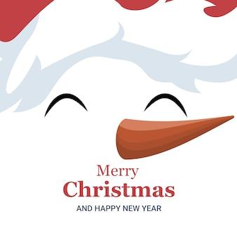 Christmas card of snowman face