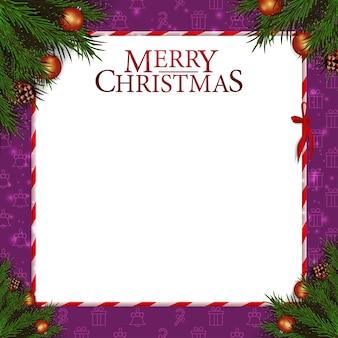 Christmas card template christmas tree branch