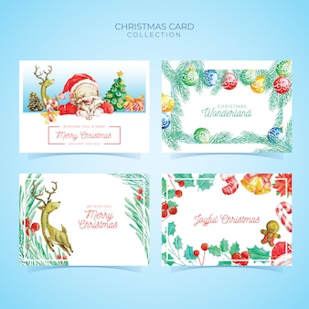 Christmas card template collection in watercolor style