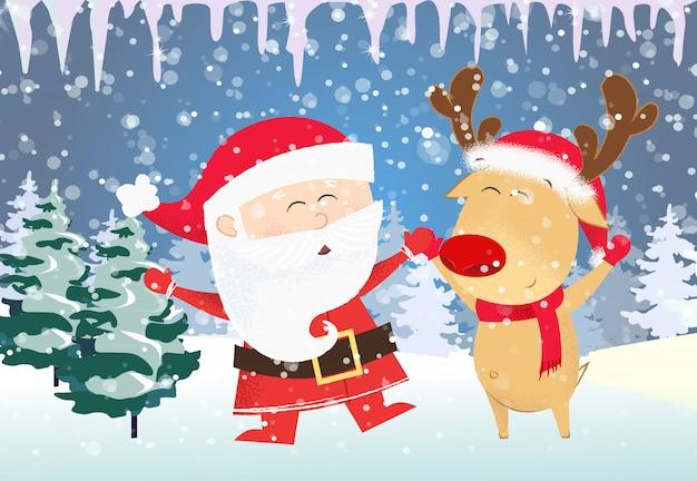 Christmas card template. dancing santa claus