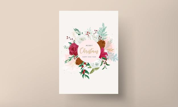 Рождественская открытка шаблон дизайна с красивым цветком и золотыми листьями