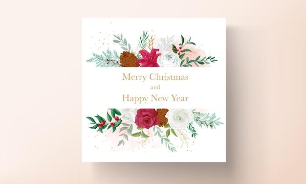 아름다운 꽃과 금박이 있는 크리스마스 카드 템플릿 디자인