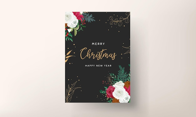 Christmas card template design with beautiful flower and gold leaves