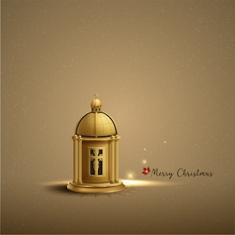 Christmas card template design with gold church lantern
