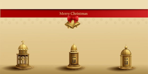 Christmas card template design with three gold church lantern and golden bell