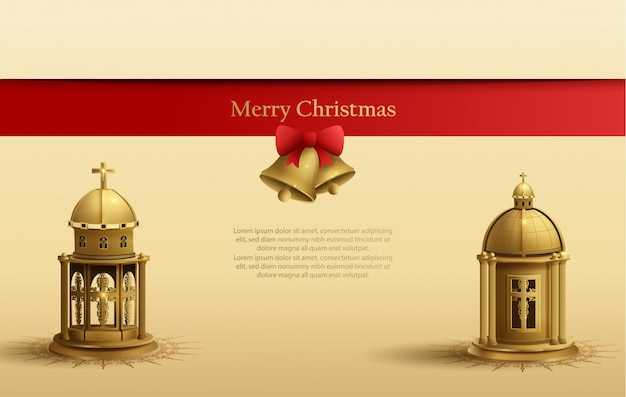 Christmas card template design with two gold church lantern and golden bell