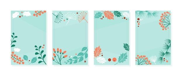 크리스마스 카드 템플릿, 겨울 벡터 배너, 빈티지 자연 커버, 식물 가지, 잎, 열매가 있는 장식 배경. 휴일 그림