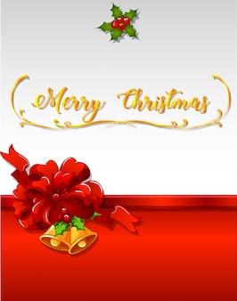 鐘と赤いリボンのクリスマスカードテンプレート