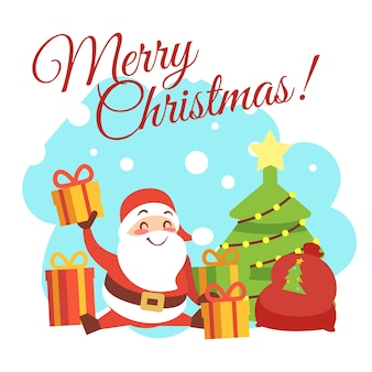 Christmas card template with cute cartoon character santa, christmas tree and gift boxes.