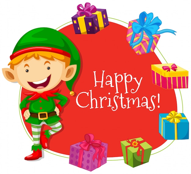 Christmas card template with elf and presents