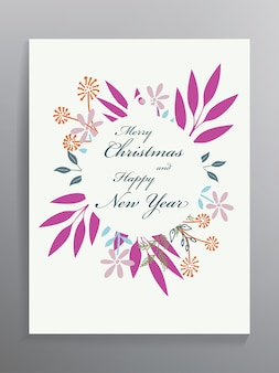 Christmas card template with floral ornament