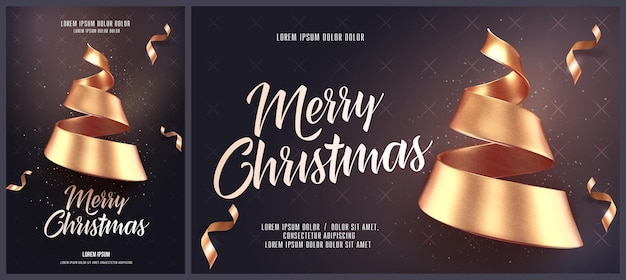 Christmas card template with golden christmas tree made of ribbon