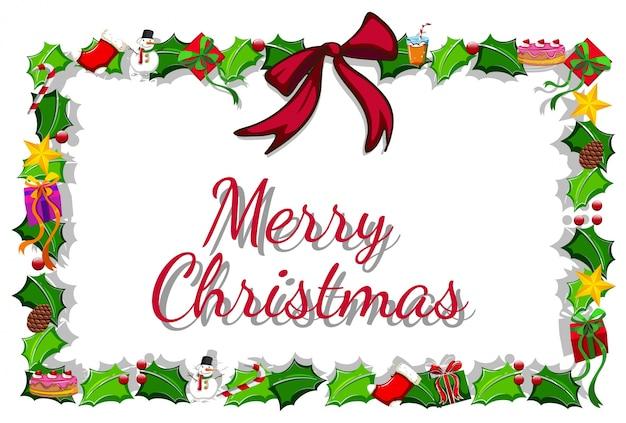 クリスマスカードテンプレートミスレツとプレゼント