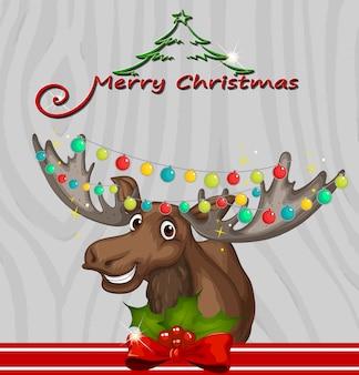 トナカイとライトのクリスマスカードテンプレート