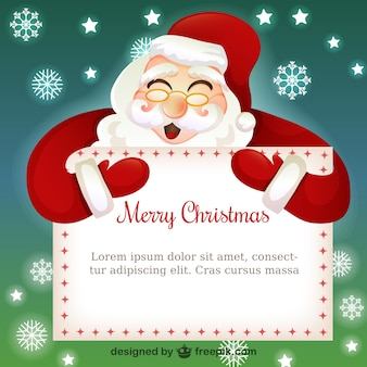 Christmas card template with santa claus cartoon