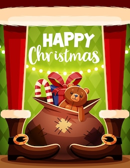 Christmas card template with santa claus and gifts.
