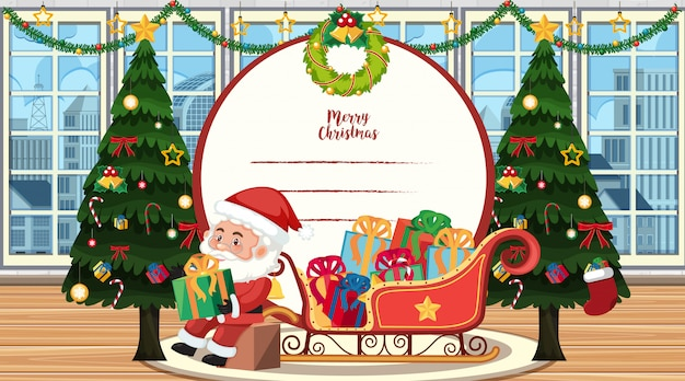Christmas card template with santa and tree