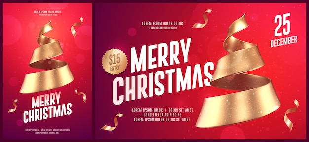 Christmas card templates with golden christmas tree made of ribbon