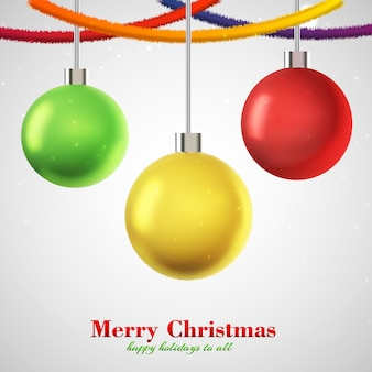 Christmas card three hanging colorful balls