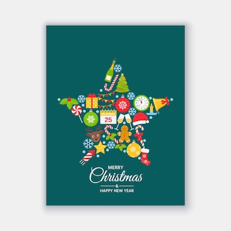 Christmas card. vector illustration. happy greeting background