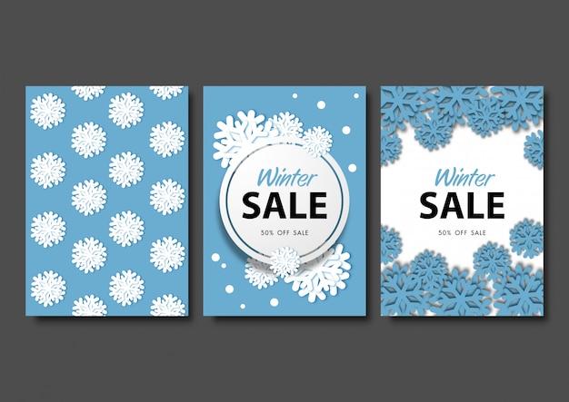 Christmas card or winter season background set vector