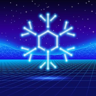 Christmas card with 80s neon snowflake