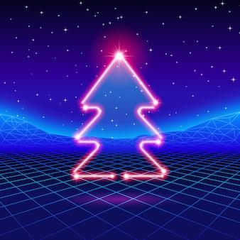 80 년대 네온 트리 크리스마스 카드