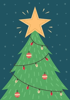 Новогодняя открытка с елкой с игрушками и гирляндой. новогодняя открытка.
