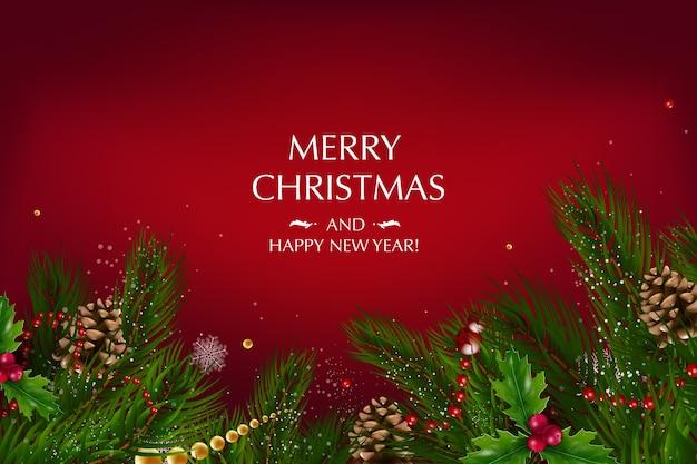 ゴールドスター、ベリー、クリスマスツリーの装飾、松の枝などのお祭りの要素の構成でクリスマスカード。メリークリスマス、そしてハッピーニューイヤー。