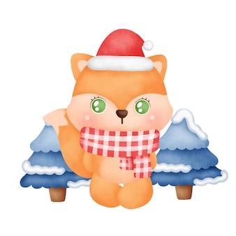 수채화 스타일의 귀여운 여우가 있는 크리스마스 카드.