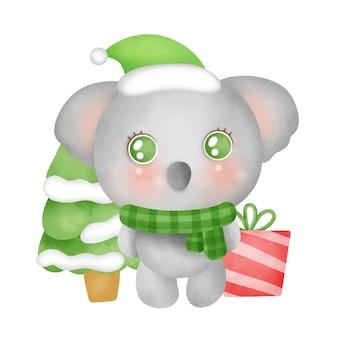 수채화 스타일의 귀여운 코알라가 있는 크리스마스 카드.
