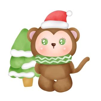 수채화 스타일의 귀여운 원숭이가 있는 크리스마스 카드.